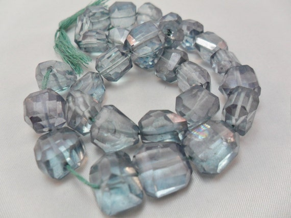 Blue Quartz Nuggets, Faceted, High Polished, 11x13mm   2pcs