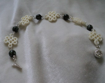 Sterling Silver Green Seraphinite and Ox Bone Bracelet