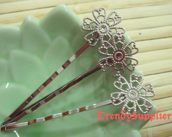 10 Pcs Silver Plated Bobby Pin with 15 mm Flower Filigree, Nickel Free (HF004)