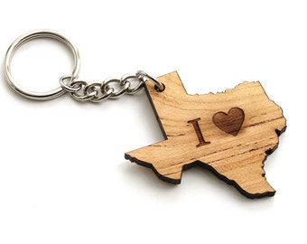 "I Heart Texas Keychain - Sustainable Black Cherry Wood . Timber Green Woods. ""I Love Texas."""