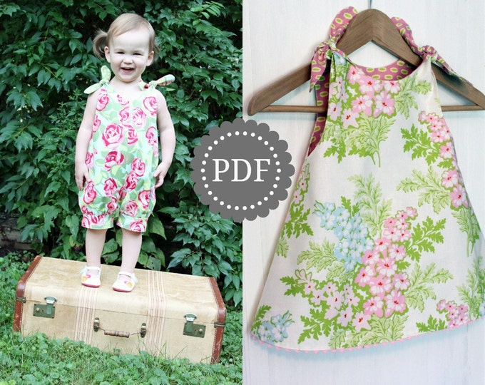 PDF Girls Romper and Dress Pattern: Shortcake Reversible Romper and Dress Pattern - Size 6 Month through 6 Years