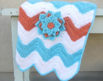 Chevron Baby Blanket Aqua Coral Zig Zag Baby Shower Gift Ready to Ship