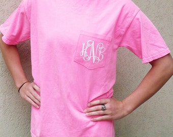 comfort colors t-shirt, personalized pocket t-shirt, monogrammed pocket t shirt