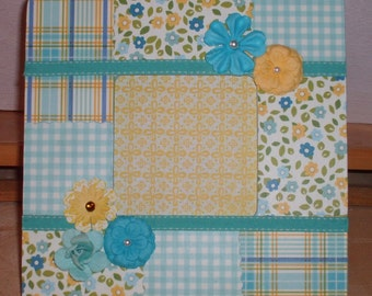 Blue and Yellow Floral Plaid and Gingham Decoupaged Picture Frame