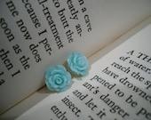 baby blue rose flower post earrings