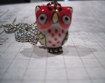 chubby little ceramic brown red owl necklace