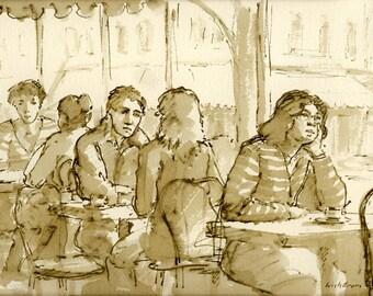 Au Cafe de Luxembourg, Paris, c 1984. 6x9 Pen and Sepia Ink Drawing on Watercolor Paper, Signed Original Fine Art