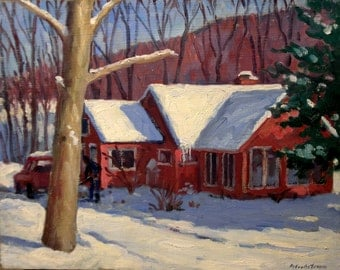 Bright and Sunny, Snowy House in the Berkshires, Deep Snow. Oil on Panel 11x14 Impressionist Winter Fine Art, Signed Original Oil Painting