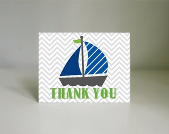 SAIL BOAT Nautical Thank You Card in Lime Green and Navy Blue- Instant Printable Download