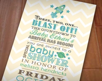 SPACE ROCKET Boy Baby Shower Printable Invitation in Seafoam and Teal