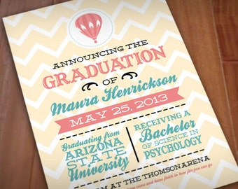 HOT AIR BALLOON Graduation Printable Announcement in Coral and Teal