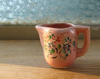 Small Vintage Pink Handpainted Creamer Tiny Vase