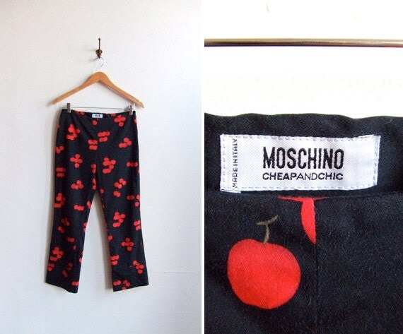 SALE////Vintage MOSCHINO cheap and chic graphic cotton pants