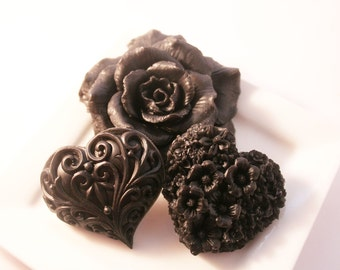 Gift Soap Set One Rose Soap and Two Heart Soaps - VEGAN - Activated Charcoal - Black Gift Decorative Soap