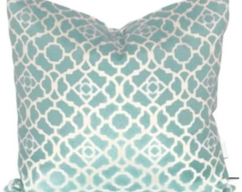 "Waverly Lovely Lattice Pillow Cover 18"" X 18""  Pale Aqua"