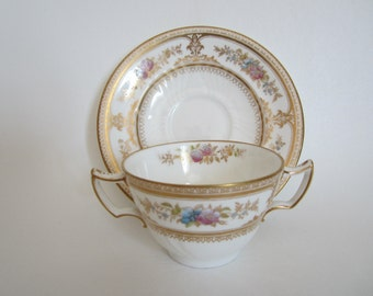 SALE! Antique Wedgwood England China Bouillon Broth Cream Soup Cup and Saucer x2192