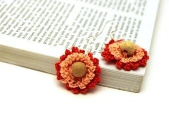 Duo Orange Flower Earrings / Lace Earrings / Crochet Earrings / Made in Israel - FREE Shipping