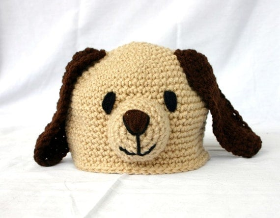 Crochet puppy dog hat 6-12 month size baby beanie toddler infant head ...