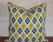 SALE - Decorative Pillow Cover: 18 X 18 Accent Throw Pillow Cover in an Ikat Argyle Pattern in Shades of Turquoise, Yellow and Lime