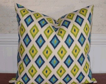 Going out of Business SALE - Decorative Pillow Cover: 16 X 16 Pillow Cover in an Ikat Argyle Pattern ~ Shades of Turquoise, Yellow and Lime