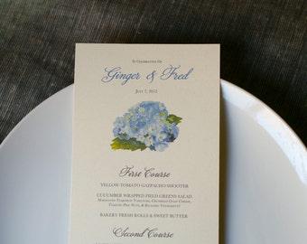Wedding Menu Cards - Blue Hydrangea - Decoration for Events, Weddings, Showers, Parties