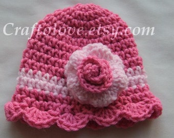 Baby Girl Hats - Crochet Baby hat Girl Bubble gum pink/ Light pink with Rose - Photography props - CHOOSE YOUR SIZE