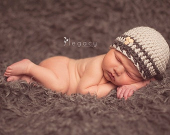 Natural Oatmeal/Charcoal Gray Button Baby Boy Beanie - Baby Boy Hat - CHOOSE YOUR SIZE - Newborn Photography props