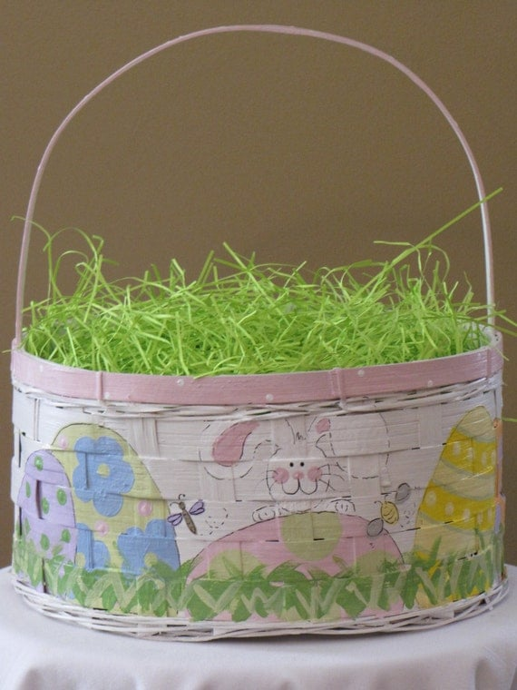personalized hand-painted Easter Basket 13 Large by PinkPeepsPlace