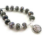 Beaded pendant necklace silver crackle with reversible pendant