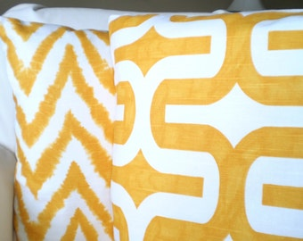 Yellow Pillow Covers, Decorative Throw Pillows, Cushions, Corn Yellow White Embrace Diva, Chevron Geometric Pillow, Couch Two Various Sizes