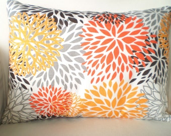 Orange Gray Pillow Cover, Decorative Throw Pillow, Cushion Covers, Orange Grey White Blooms Lumbar Floral One 12 x 16 or 12 x 18