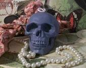 Beeswax Gray Grey Skull Candle dia de los Muertos