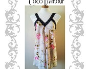 Printed floral backless Chemise