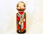 St Valentine Wooden Toy -Catholic Saint Doll - Made to Order