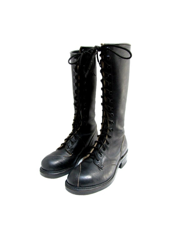 mens linesman boots black leather knee high steel toe