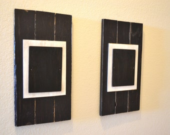 2- 5 x 7 Black Wood Picture Frames