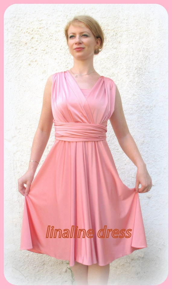 Bridesmaids dress in coral  WITH TUBE TOP  wrap dress Convertible/Infinity Dress