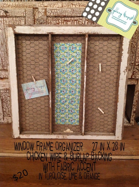Repurposed recycled wood window frame chicken wire by for Recycled window frames