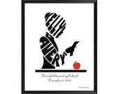 Personalized Female or Male Teacher Silhouette Print, Custom Framed Art, Gift for Teacher