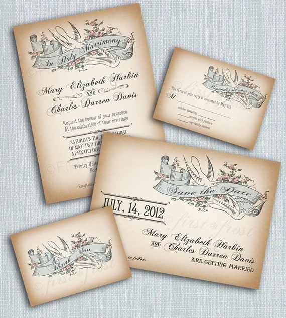 Wedding Invitation Book Style: Printable Vintage Style Wedding Invitation Suite DIY 4