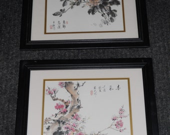 Vintage Asian Framed & Matted Wall Decor-Flowers And Chinese Calligraphy-Set of 2