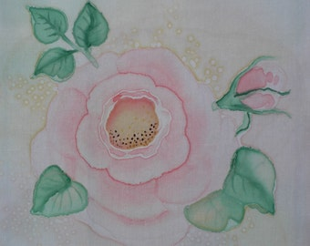Pink Rose Hand painted Cotton Quilt Block