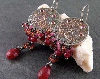 Ruby chandelier earrings with orange & pink sapphire, OOAK fine silver earrings