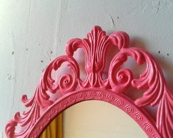 Pink Oval Princess Mirror, Ornate Vintage Framed Mirror in Bubble Gum Pink, 13 by 10 inches, Nursery or Girls Room Decor