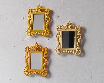 Ornate Wall Mirror Set of Three Miniature Vintage Frames in Three Shades of Yellow