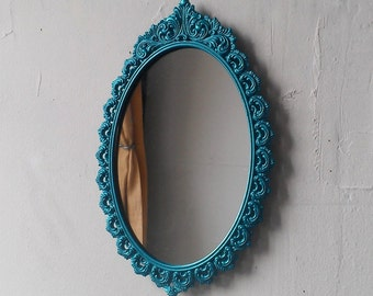Oval Wall Mirror in Vintage Metallic Aqua Frame 9 by 6 Inches