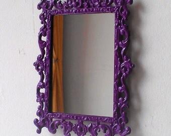 Regency Wall Mirror in Small Vintage Amethyst Purple Frame