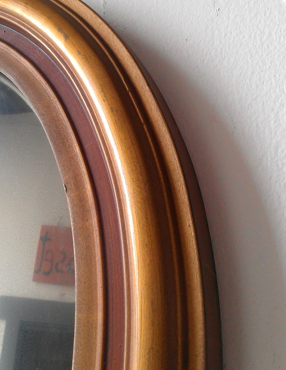 Convex Oval Mirror In Antique Gold Wood By Secretwindowmirrors