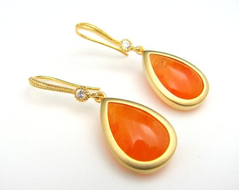 gold plated brass framed orange jade teardrop with gold cz hook . - Free US shipping