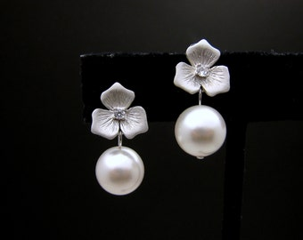 Bridal earrings bridal jewelry wedding pearl earrings Matte rhodium finished Flower earring posts with 10mm swarovski white or cream pearl